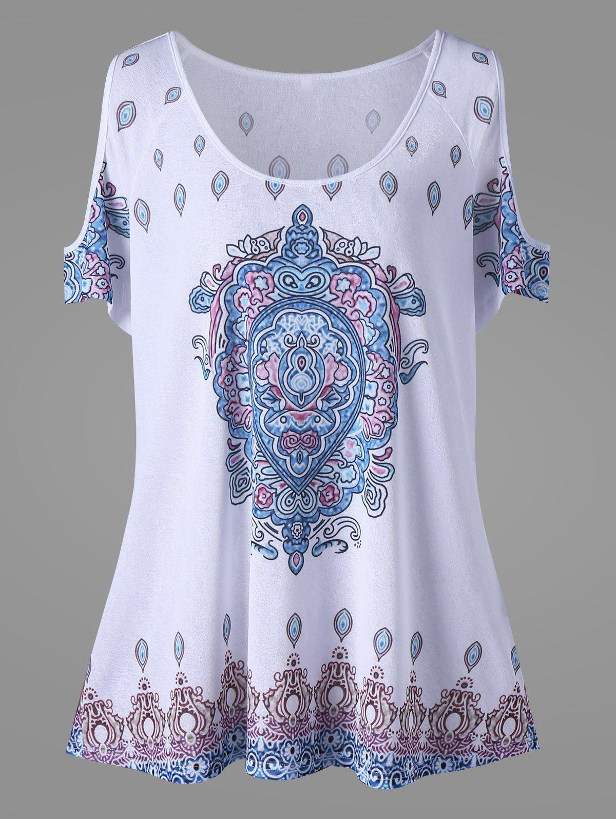 Cold Shoulder Tribe Print Plus Size TopWOMEN<br><br>Size: 5XL; Color: WHITE; Material: Polyester; Shirt Length: Regular; Sleeve Length: Short; Collar: Scoop Neck; Style: Fashion; Season: Fall,Spring,Summer; Pattern Type: Print; Weight: 0.2500kg; Package Contents: 1 x Top;