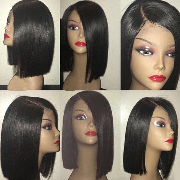 Medium Straight Asymmetric Bob Side Part Synthetic WigHAIR<br><br>Color: BLACK; Type: Full Wigs; Cap Construction: Capless; Style: Bob; Material: Synthetic Hair; Bang Type: Side; Length: Medium; Length Size(CM): 40; Weight: 0.1900kg; Package Contents: 1 x Wig;