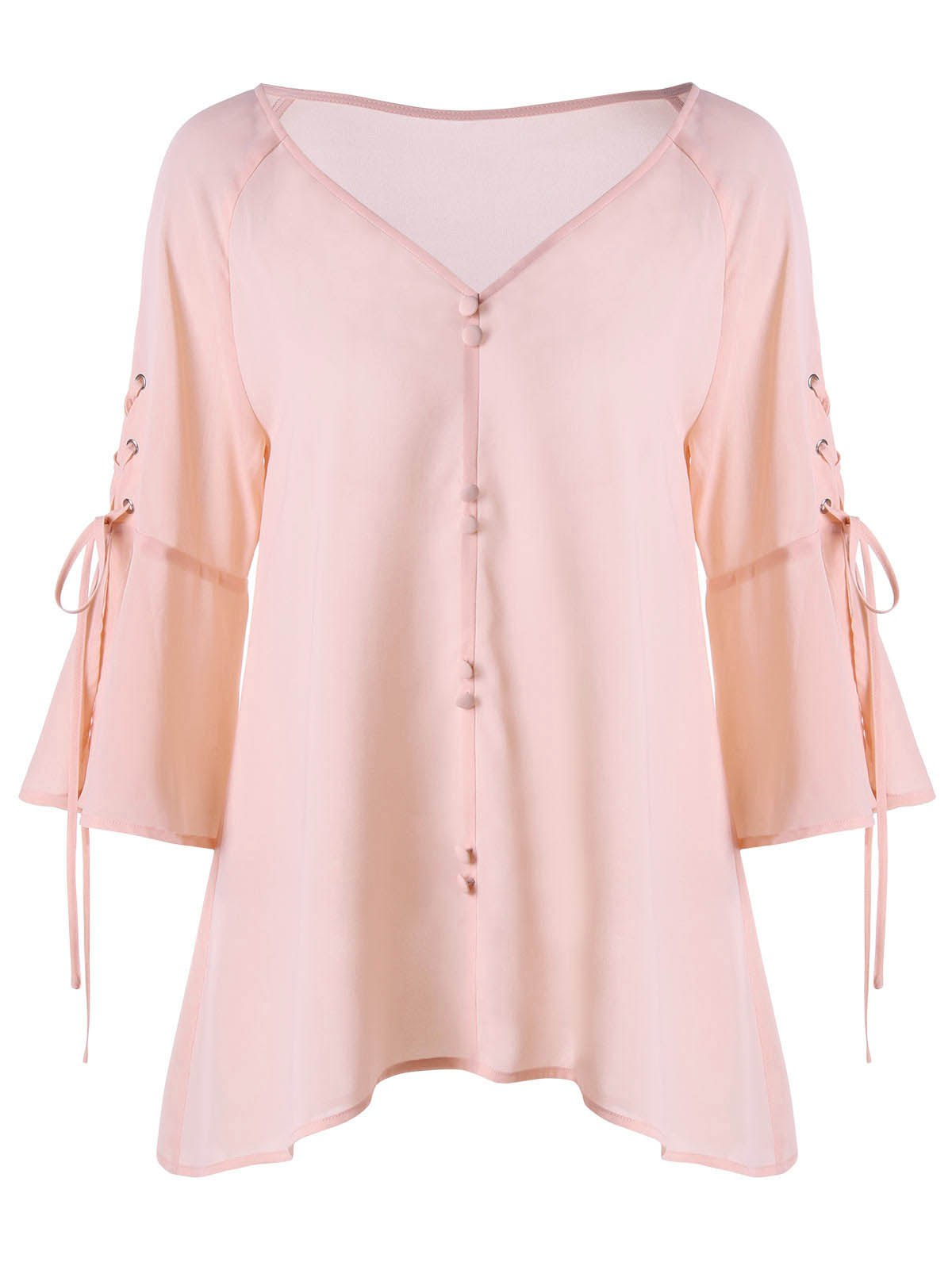 Buttoned V Neck Lace Up BlouseWOMEN<br><br>Size: 2XL; Color: PINK; Material: Polyester; Shirt Length: Regular; Sleeve Length: Three Quarter; Collar: V-Neck; Style: Fashion; Pattern Type: Solid; Season: Fall,Spring; Weight: 0.2210kg; Package Contents: 1 x Blouse;