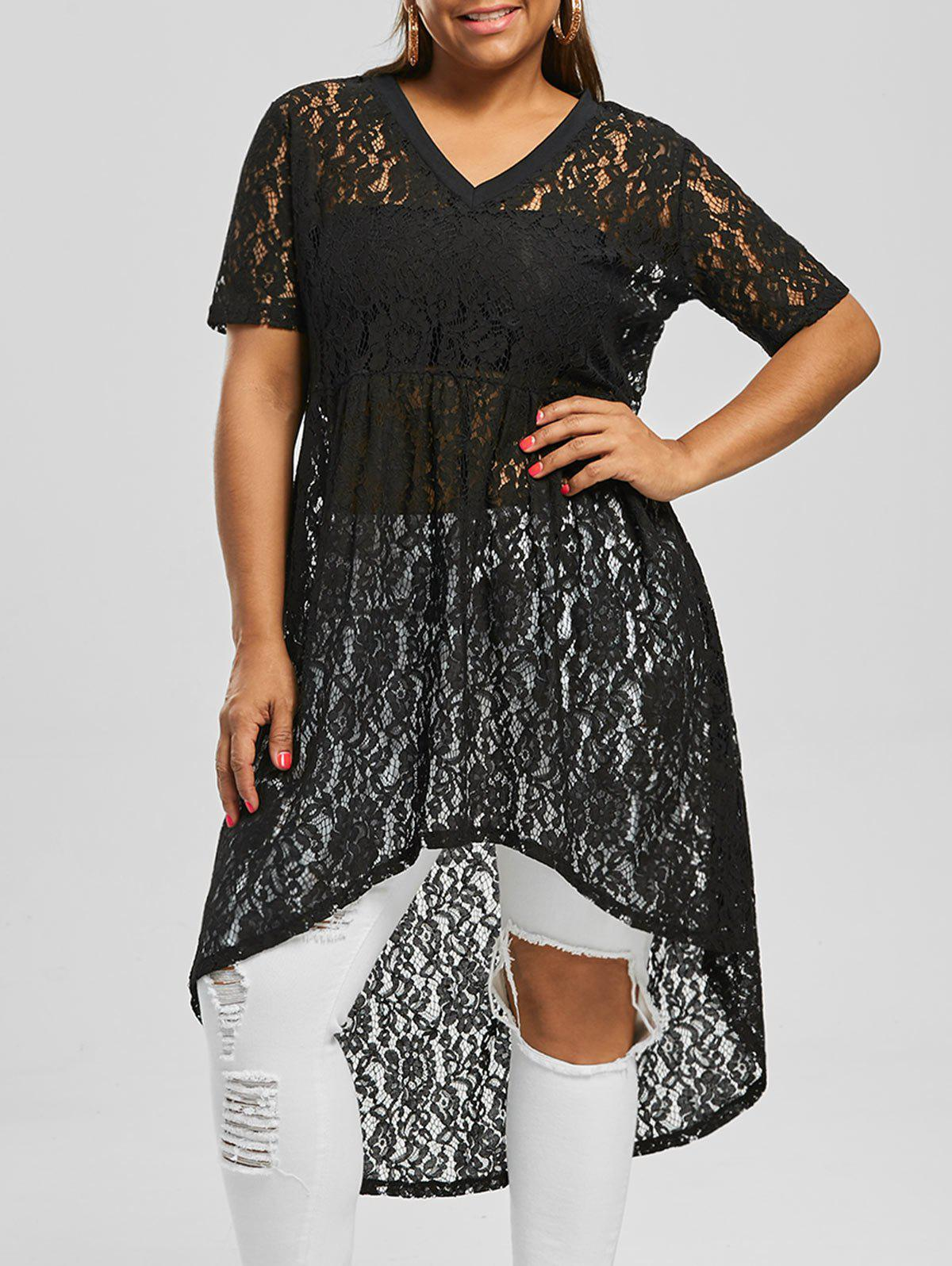 ff5dfdd129 Online Plus Size V Neck High Low Lace Top