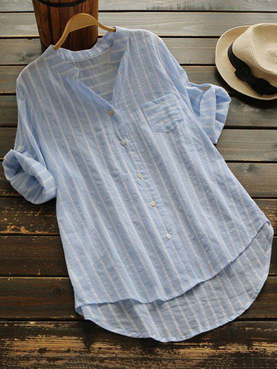 Button Up Striped Blouse with PocketWOMEN<br><br>Size: ONE SIZE; Color: LIGHT BLUE; Material: Polyester; Shirt Length: Long; Sleeve Length: Three Quarter; Collar: V-Neck; Pattern Type: Striped; Style: Casual; Weight: 0.1900kg; Package Contents: 1 x Blouse; Occasion: Casual;
