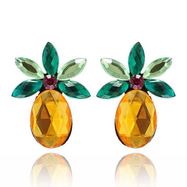 Cheap Faux Crystal Pineapple Fruit Earrings