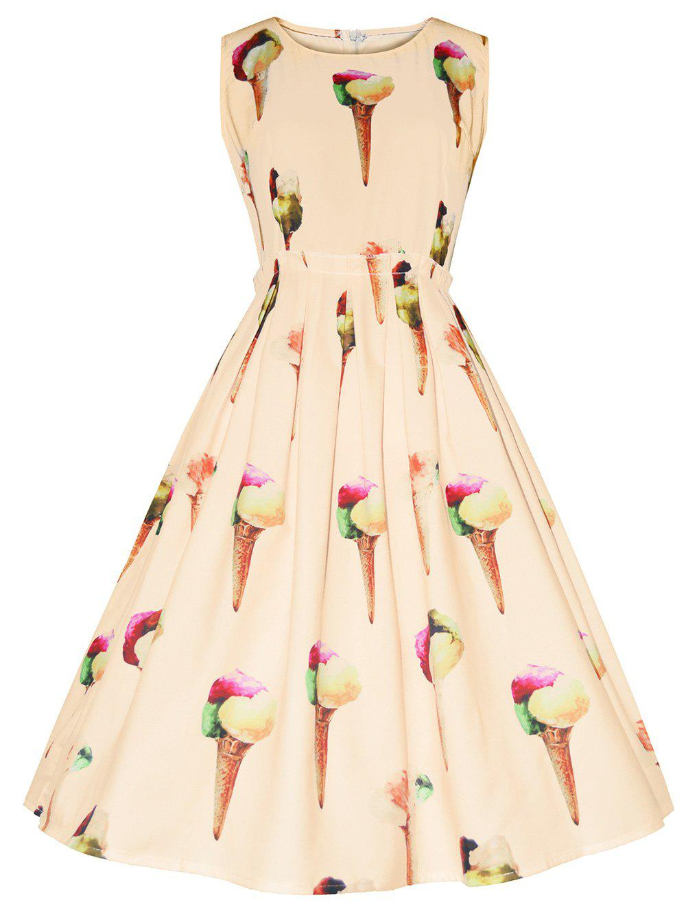 Vintage Ice Cream Print Fit and Flare DressWOMEN<br><br>Size: XL; Color: PALOMINO; Style: Vintage; Material: Cotton,Polyester; Silhouette: A-Line; Dress Type: Fit and Flare Dress,Swing Dress; Dresses Length: Mid-Calf; Neckline: Round Collar; Sleeve Length: Sleeveless; Pattern Type: Others; With Belt: No; Season: Summer; Weight: 0.3500kg; Package Contents: 1 x Dress;