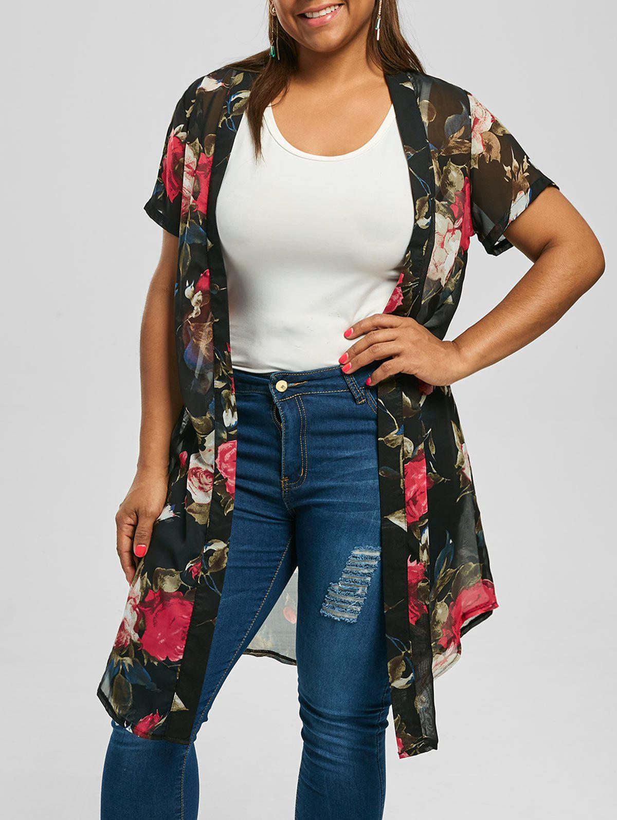 Floral Long Plus Size Kimono TopWOMEN<br><br>Size: 5XL; Color: BLACK; Material: Polyester; Shirt Length: Long; Sleeve Length: Short; Collar: Collarless; Style: Fashion; Season: Summer; Pattern Type: Floral; Weight: 0.2000kg; Package Contents: 1 x Top;