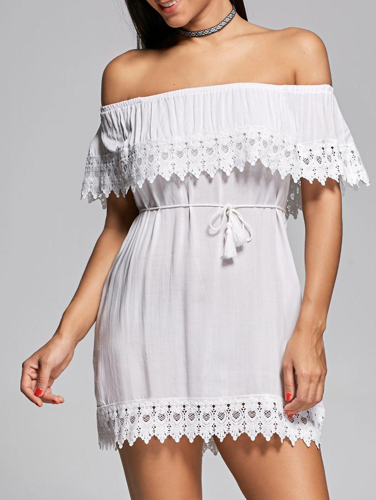 Outfits Off The Shoulder Lace Insert Mini Shift Dress