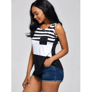 Front Pocket Color Block Striped Tank Top -