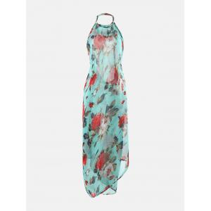 Floral Print Beach Cover Up Wrap Dress - COLORMIX 2XL