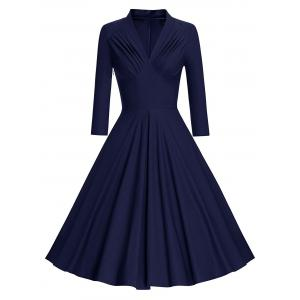 Pleated Long Sleeve Vintage Pinup Dress