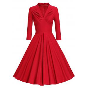 Pleated Long Sleeve Vintage Pinup Dress - Red - M