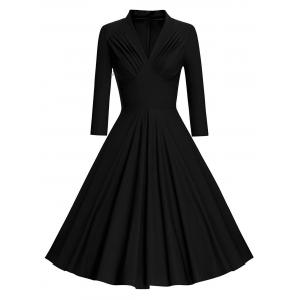Pleated Long Sleeve Vintage Pinup Dress - Black - M