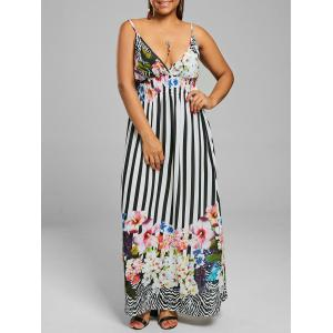 Floral Stripe Chiffon Plus Size Maxi Backless Dress
