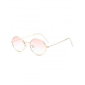 Oval Metal Frame Anti UV Sunglasses - Light Pink
