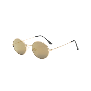 Oval Metal Frame Anti UV Sunglasses - LUXURY GOLD COLOR