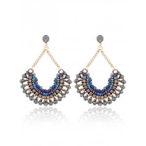 Boho Fan Shape Rhinestone Beaded Drop Earrings