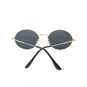 Oval Metal Frame Anti UV Sunglasses - BLACK
