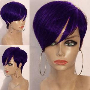 Short Inclined Bang Layered Straight Synthetic Wig - Purple