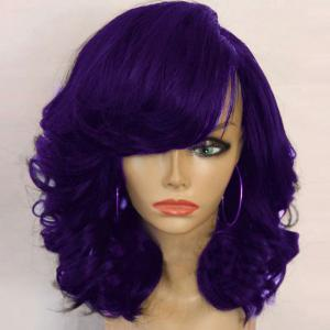 Medium Side Parting Shaggy Curly Synthetic Wig - Purple - 60cm