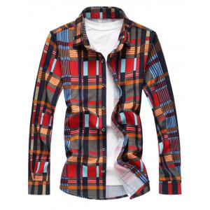 Colorful Plaids Button Up Shirt - Red - 4xl