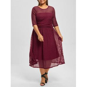 Plus Size Lace A Line Homecoming Dress - Wine Red - 4xl