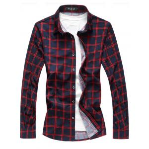 Long Sleeve Button Up Casual Plaid Shirt - Red - L