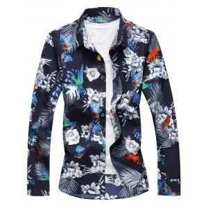 Flowers and Birds Print Plus Size Hawaiian Shirt - Colormix - 7xl