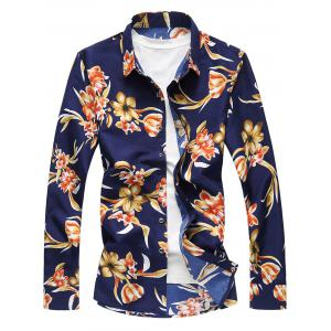 Plus Size Long Sleeve 3D Flowers Print Hawaiian Shirt