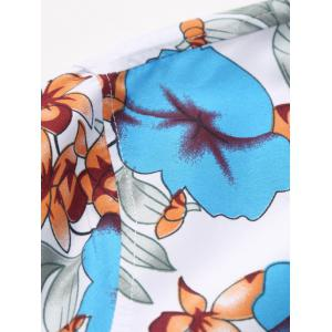 Plus Size Long Sleeve Flowers and Leaves Print Shirt - BLUE 5XL
