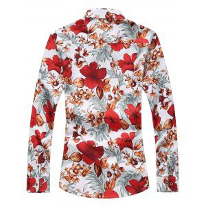 Plus Size Long Sleeve Flowers and Leaves Print Shirt - RED 7XL