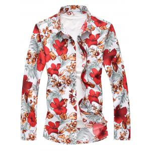 Plus Size Long Sleeve Flowers and Leaves Print Shirt