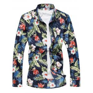 Plus Size Long Sleeve 3D Flowers and Leaves Print Shirt - Colormix - 7xl