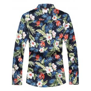 Plus Size Long Sleeve 3D Flowers and Leaves Print Shirt -