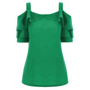 Plus Size Ruffle Cold Shoulder Top - Green - 5xl