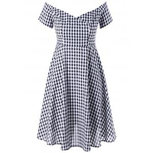 Plus Size V Neck Plaid Swing Dress