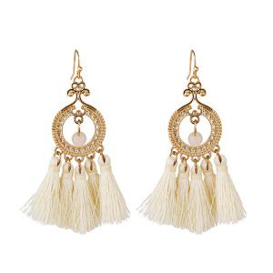 Vintage Beads Circle Tassel Drop Earrings - White
