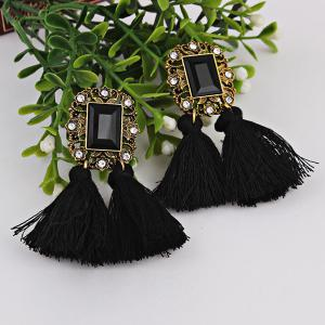 Rhinestone Vintage Engraved Tassel Earrings - BLACK