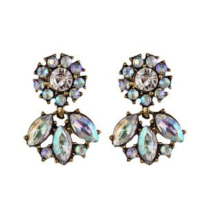 Artificial Crystal Floral Dangle Earrings - Colormix