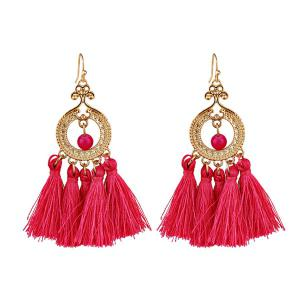 Vintage Beads Circle Tassel Drop Earrings - Red - 2xl