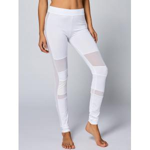 High Waist Mesh Panel Yoga Leggings - WHITE S