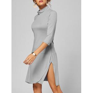 Side Slit High Neck A Line Dress - Gray - M
