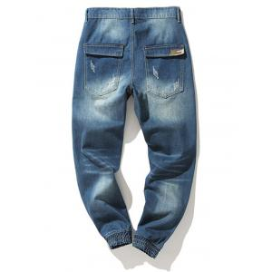 Zipper Fly Camouflage Panel Beem Feet Ripped Jeans -