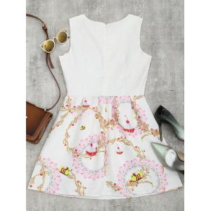A Line Jacquard Mini Floral Dress - Blanc M