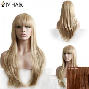 Siv Hair Long Neat Bang Layered Straight Human Hair Wig