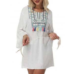 Bell Sleeve Embroidered Cover Up Mini Dress - WHITE ONE SIZE