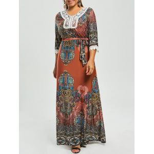 Print Plus Size Gypsy Maxi Dress with Sleeves - Red - 7xl