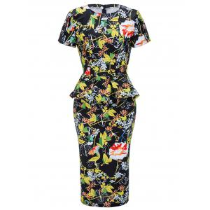 Floral Print Midi Bodycon Peplum Dress