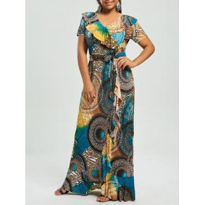 Print Ruffle Plus Size Maxi Bohemian Dress - Blue - 5xl