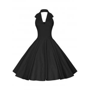 Vintage Backless Halter Pinup Dress