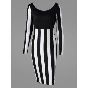 Formal Two Tone Long Sleeve Sheath Work Dress - Black White - 2xl