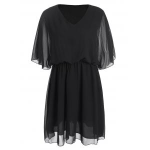 Plus Size Elastic Waist Chiffon Belted Dress
