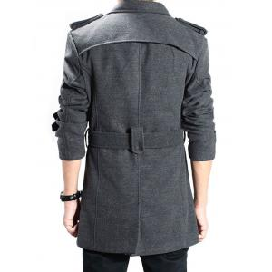 Double Breasted Epaulet Back Slit Peacoat with Belt - DEEP GRAY 2XL